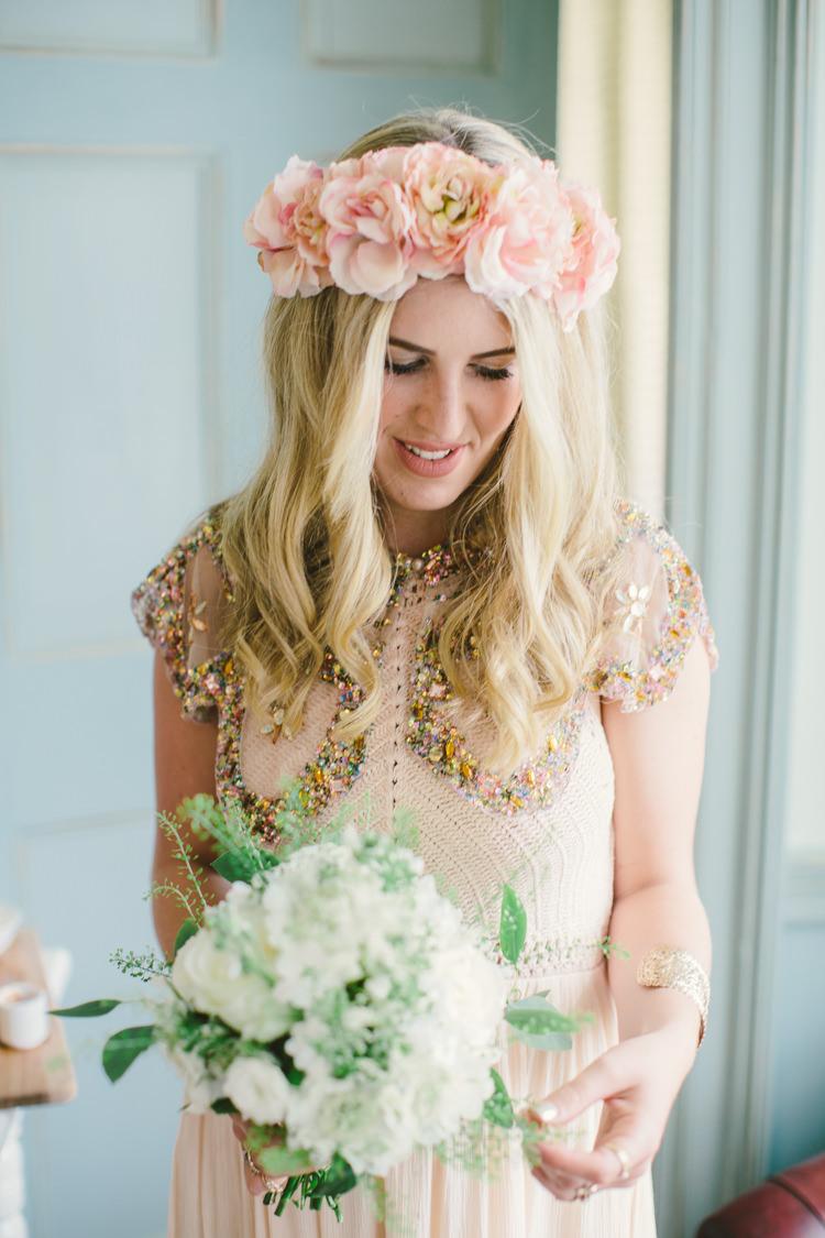 Bridesmaid Sequin Dress Flowers Crown Retro 70s Bohemian Summer Dream Wedding http://whitecatstudio.ie/