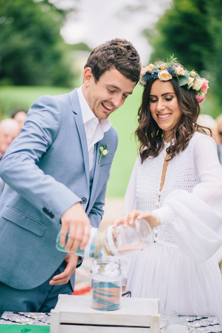 Sand Pouring Ceremony Retro 70s Bohemian Summer Dream Wedding http://whitecatstudio.ie/