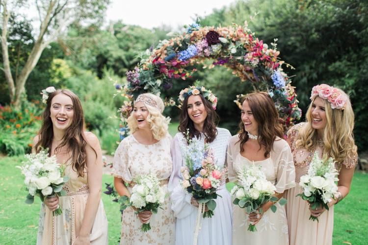 Mismatched Bridesmaid Dresses Retro 70s Bohemian Summer Dream Wedding http://whitecatstudio.ie/