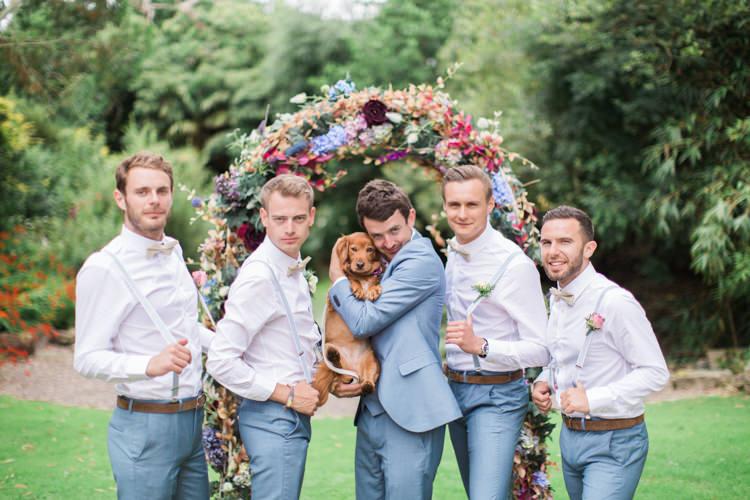 Bow Tie Braces Blue Suits Groom Groomsmen Retro 70s Bohemian Summer Dream Wedding http://whitecatstudio.ie/