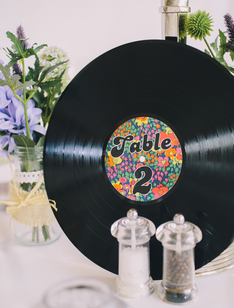 Record Vinyl Table Numbers Retro 70s Bohemian Summer Dream Wedding http://whitecatstudio.ie/