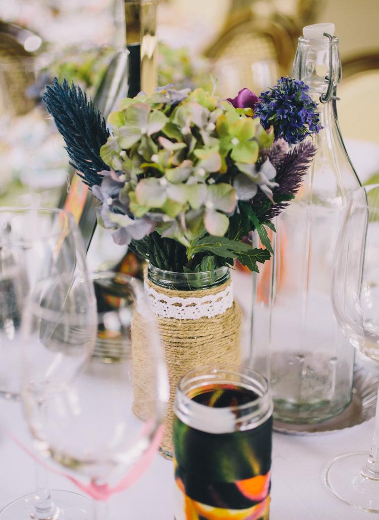 Twine Lace Jar Flowers Retro 70s Bohemian Summer Dream Wedding http://whitecatstudio.ie/