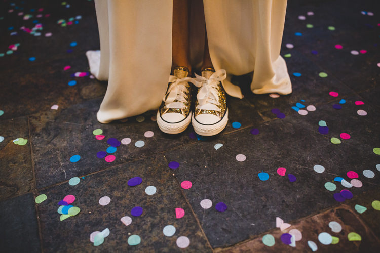 Bride Bridal Sparkly Gold Converse Confetti Colourful Fun Cosy Rainy Sea Wedding http://www.livvy-hukins.co.uk/