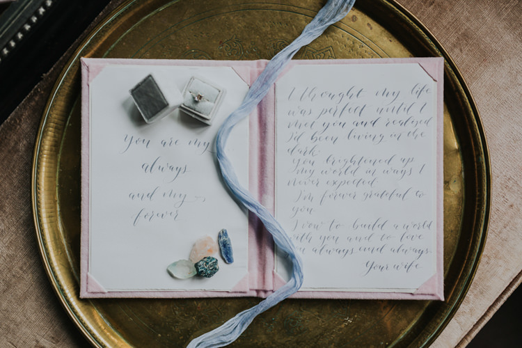 Velvet Ring Box Calligraphy Vows Ribbon Bohemian Cool Raw Crystal Wedding Ideas http://www.kategrayphotography.com/