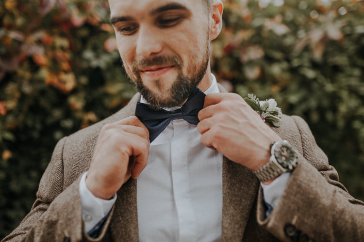 Bow Tie Groom Bohemian Cool Raw Crystal Wedding Ideas https://lolarosephotography.com/