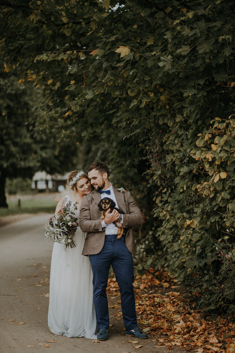 Groom Navy Loafers Trousers Tweed Jacket Bow Tie Bohemian Cool Raw Crystal Wedding Ideas https://lolarosephotography.com/