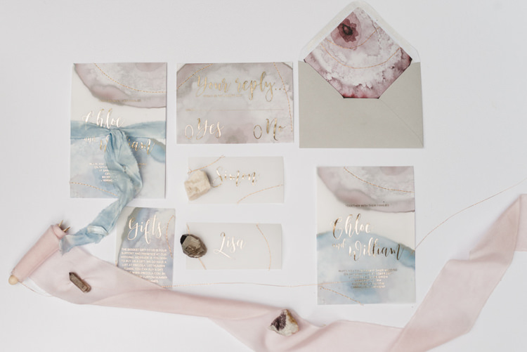 Watercolour Agate Pastel Geode Stationery Invitations Invites Bohemian Cool Raw Crystal Wedding Ideas https://www.hannahmcclunephotography.com/