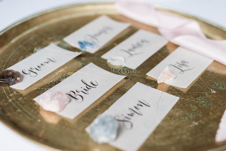 Calligraphy Place Name Cards Bohemian Cool Raw Crystal Wedding Ideas https://www.hannahmcclunephotography.com/