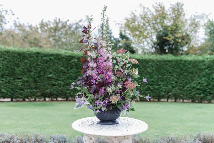Flower Arrangement Tall Urn Bohemian Cool Raw Crystal Wedding Ideas https://www.hannahmcclunephotography.com/