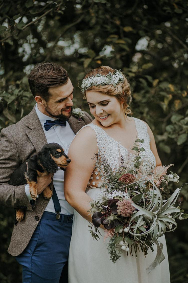 Pet Dog Bride Groom Bohemian Cool Raw Crystal Wedding Ideas https://lolarosephotography.com/