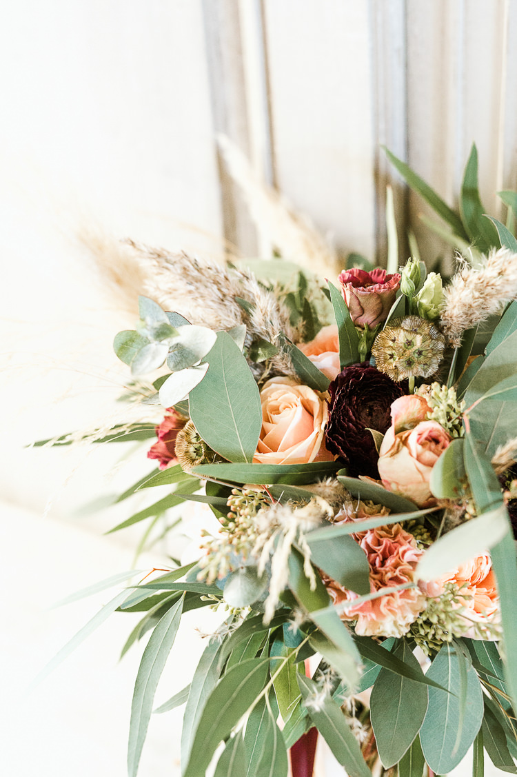 Flowers Bouquet Bride Bridal Oxblood Peach Rose Pampas Grass Greenery Trendy Beautiful French Elopement Wedding Ideas http://oliviamarocco.com/
