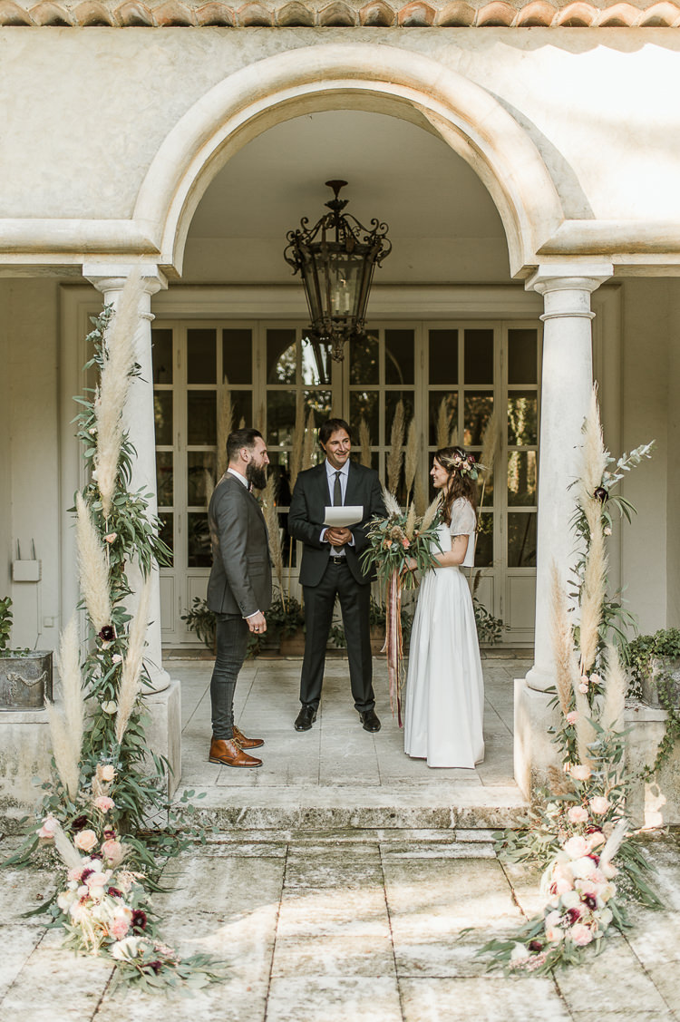 Flowers Arch Ceremony Backrop Oxblood Peach Rose Pampas Grass Greenery Trendy Beautiful French Elopement Wedding Ideas http://oliviamarocco.com/