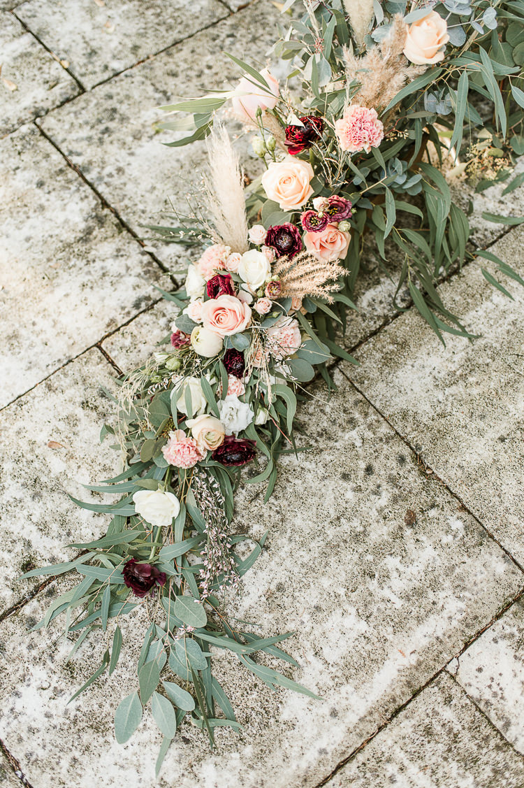 Flowers Bouquet Oxblood Peach Rose Pampas Grass Greenery Garland Swag Trendy Beautiful French Elopement Wedding Ideas http://oliviamarocco.com/