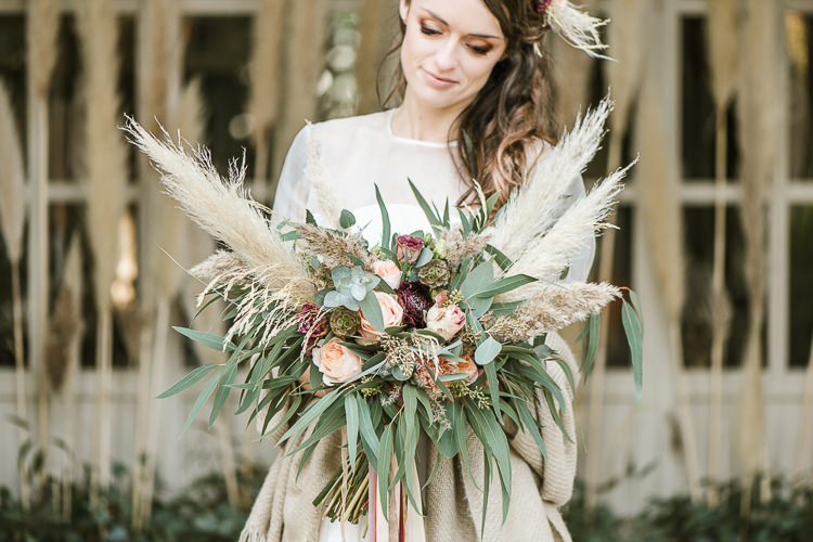 Flowers Bouquet Oxblood Peach Rose Pampas Grass Greenery Velvet Ribbon Bride Bridal Trendy Beautiful French Elopement Wedding Ideas http://oliviamarocco.com/