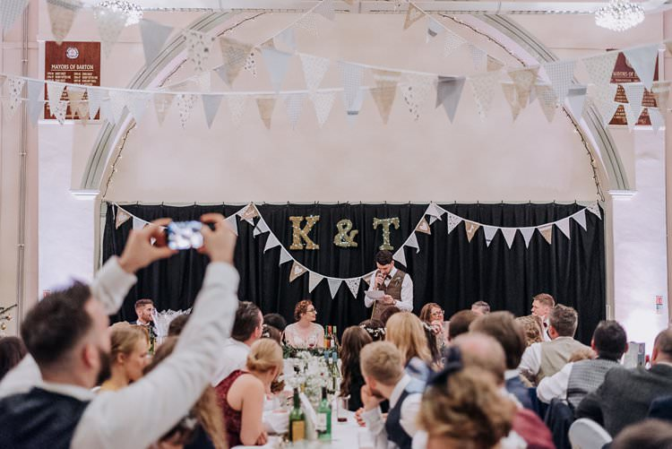 Top Table Bunting Letter Backdrop Twinkly Rustic Winter Wonderland Wedding https://www.kazooieloki.co.uk/