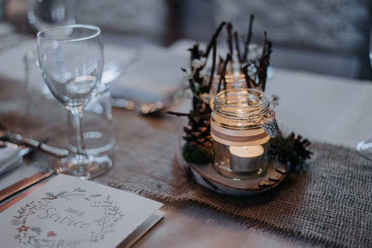 Hessian Burlap Pinecones Tea Lights Jars Decor Twinkly Rustic Winter Wonderland Wedding https://www.kazooieloki.co.uk/
