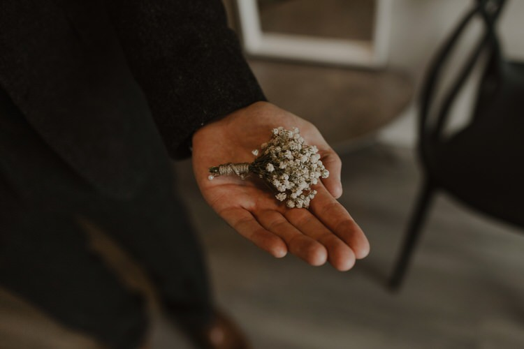 Groom Buttonhole Boutonniere Gyp Gypsophila Baby's Breath White Simple | Intimate Adventurous Emotional Iceland Wedding http://www.thecurries.co/