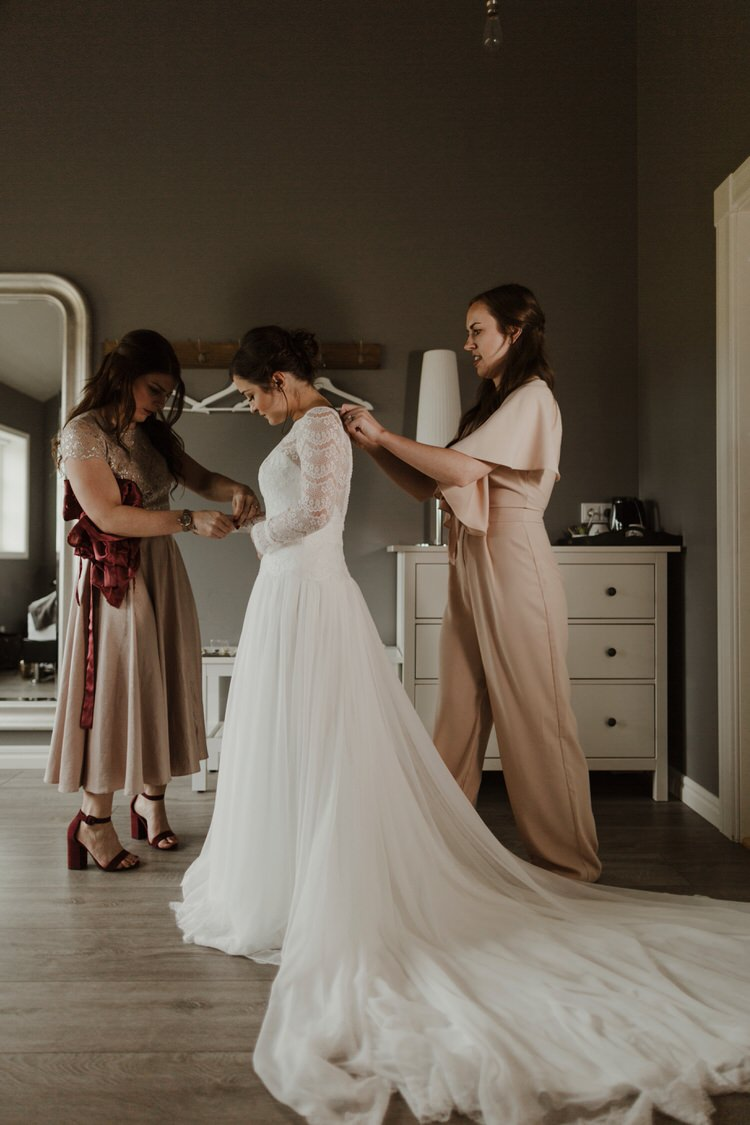 Minimalist Simple Natural Bride Dress Maggie Sottero Long Sleeved Lace Morning | Intimate Adventurous Emotional Iceland Wedding http://www.thecurries.co/