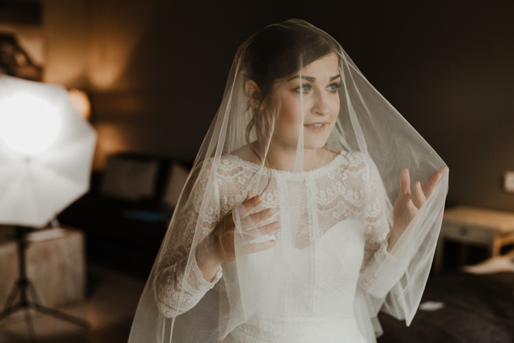 Minimalist Simple Natural Bride Dress Maggie Sottero Long Sleeved Lace Morning Veil | Intimate Adventurous Emotional Iceland Wedding http://www.thecurries.co/
