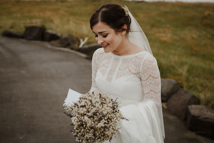 Minimalist Simple Natural Bride Dress Maggie Sottero Long Sleeved Lace Gyp Bouquet | Intimate Adventurous Emotional Iceland Wedding http://www.thecurries.co/
