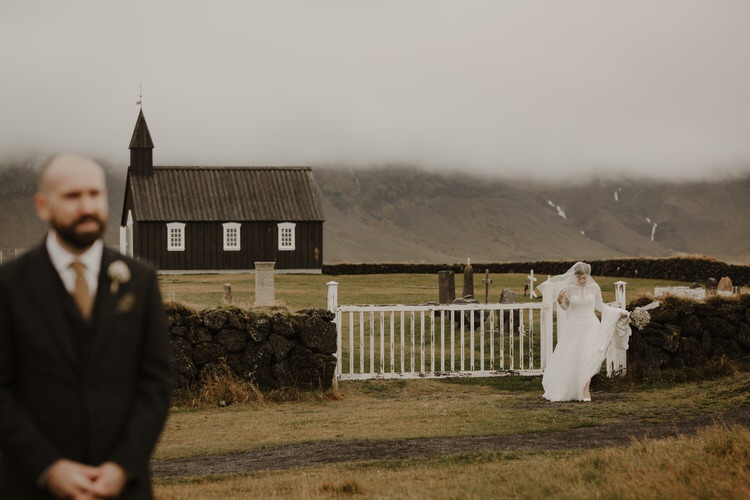 Minimalist Simple Natural Destination Elopement Church Nordic Scandinavian Style First Look Bride Groom | Intimate Adventurous Emotional Iceland Wedding http://www.thecurries.co/