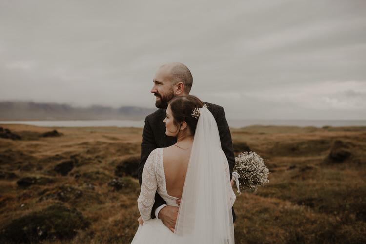 Bride Groom First Look Emotional Gypsophila Baby's Breath Bouquet Outdoor Destination Elopement | Intimate Adventurous Emotional Iceland Wedding http://www.thecurries.co/
