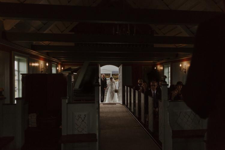Bride Groom Church Aisle Ceremony Destination Elopement Nordic Scandinavian | Intimate Adventurous Emotional Iceland Wedding http://www.thecurries.co/