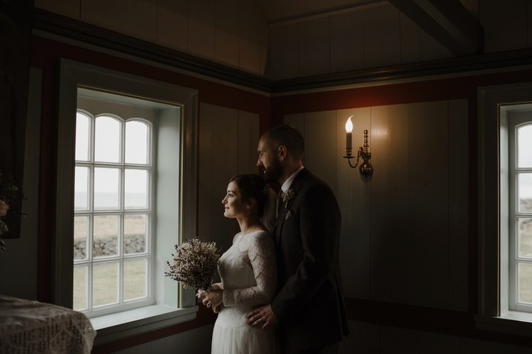 Bride Groom Emotional Gypsophila Baby's Breath Bouquet Alone | Intimate Adventurous Emotional Iceland Wedding http://www.thecurries.co/