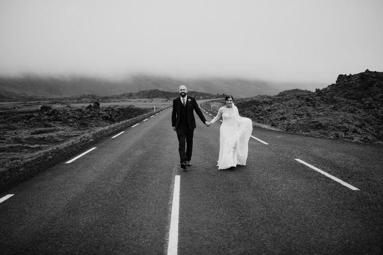 Bride Groom Destination Elopement Nordic Road Nordic Scandinavian Landscape Minimalist Style | Intimate Adventurous Emotional Iceland Wedding http://www.thecurries.co/