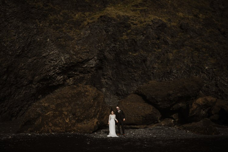 Bride Groom Destination Elopement Nordic Waterfall Cliff Coast Sea Minimalist Style | Intimate Adventurous Emotional Iceland Wedding http://www.thecurries.co/