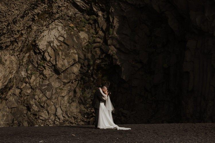 Bride Groom Destination Elopement Nordic Coast Cave Sea Minimalist Style | Intimate Adventurous Emotional Iceland Wedding http://www.thecurries.co/