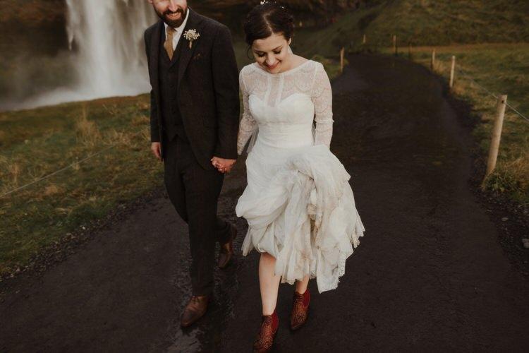 Bride Groom Destination Elopement Nordic Waterfall Minimalist Style | Intimate Adventurous Emotional Iceland Wedding http://www.thecurries.co/