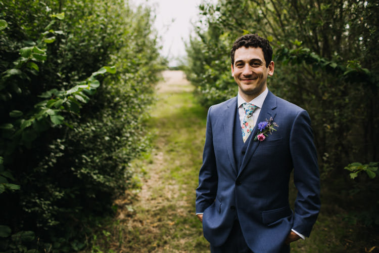 Blue Suit Floral Tie Groom Joyful Homespun Humanist Farm Camping Wedding https://aniaames.co.uk/