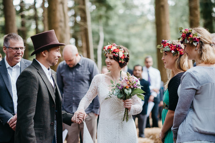 Bride Bridal Vintage Lace Dress Long Sleeved Flower Crown Bouquet White Stuff Groom No Tie Waistcoat Three Piece Suit Top Hat Tweed Folky Woodland Adventure Wedding https://elainewilliamsphoto.com/