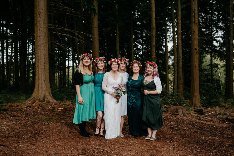 Bride Bridal Vintage Lace Dress Long Sleeved Flower Crown Bouquet Green Mismatched Bridesmaids Folky Woodland Adventure Wedding https://elainewilliamsphoto.com/
