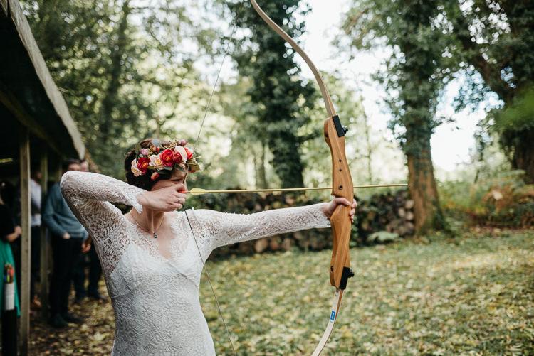 Bride Bridal Archery Flower Crown Long Sleeved Lace Folky Woodland Adventure Wedding https://elainewilliamsphoto.com/