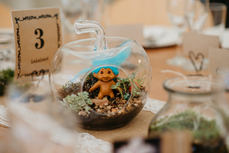 Table Centre Troll Glass Terrarium Troll Folky Woodland Adventure Wedding https://elainewilliamsphoto.com/