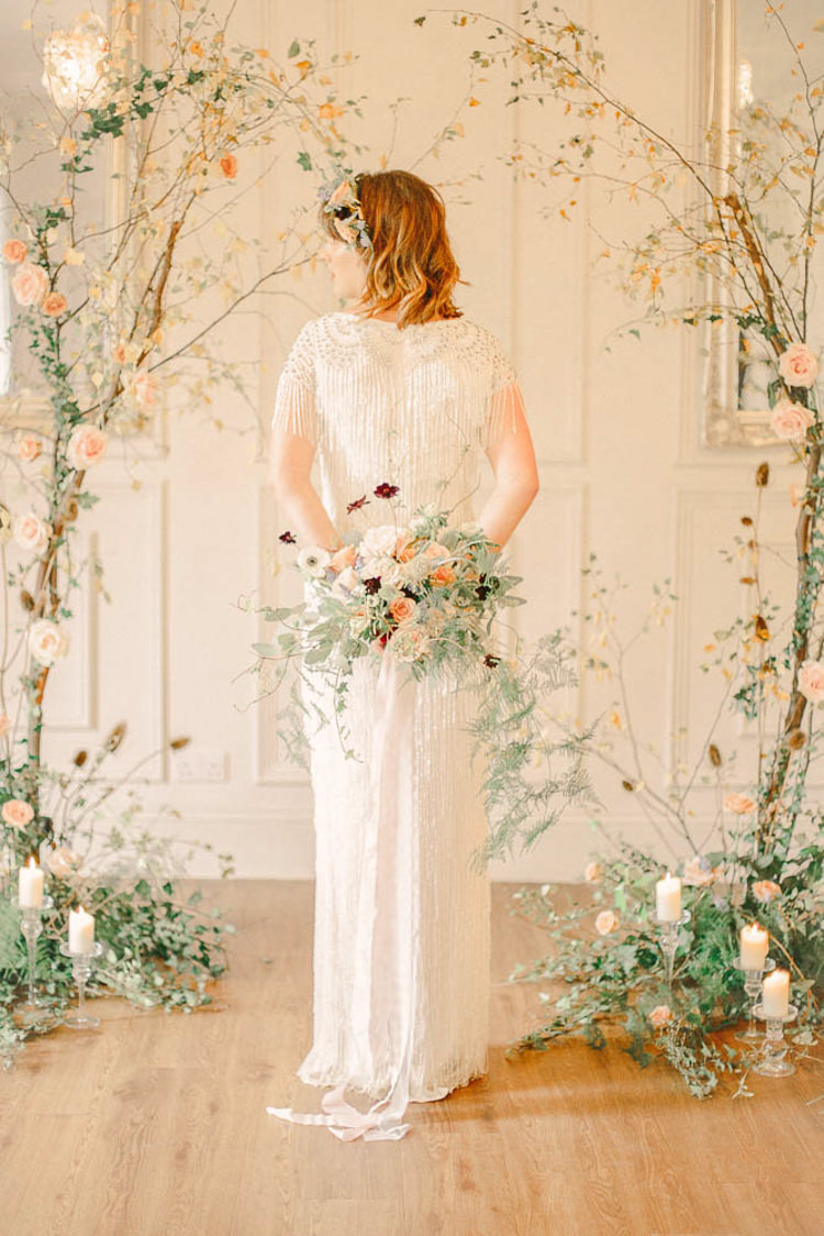 Backdrop Flowers Branch Candles Bride Bridal Beautiful Fine Art Country House Wedding Ideas https://www.theblushingpeony.co.uk/