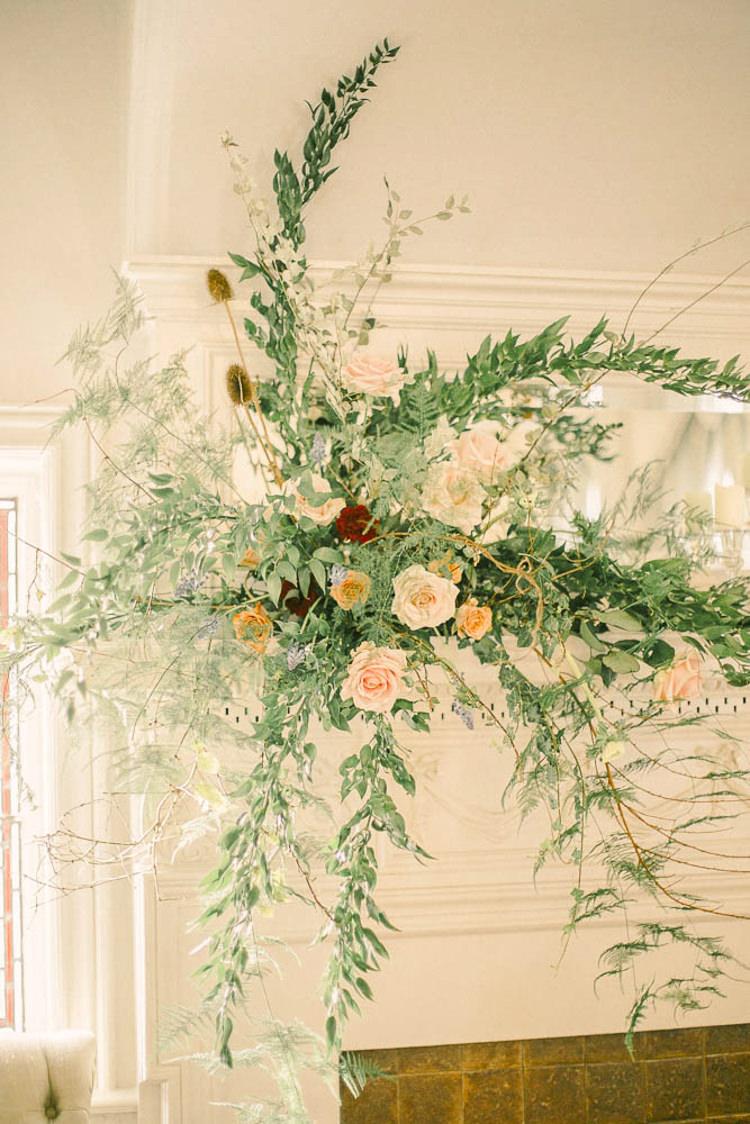 Fireplace Flower Arrangement Mantle Piece Beautiful Fine Art Country House Wedding Ideas https://www.theblushingpeony.co.uk/