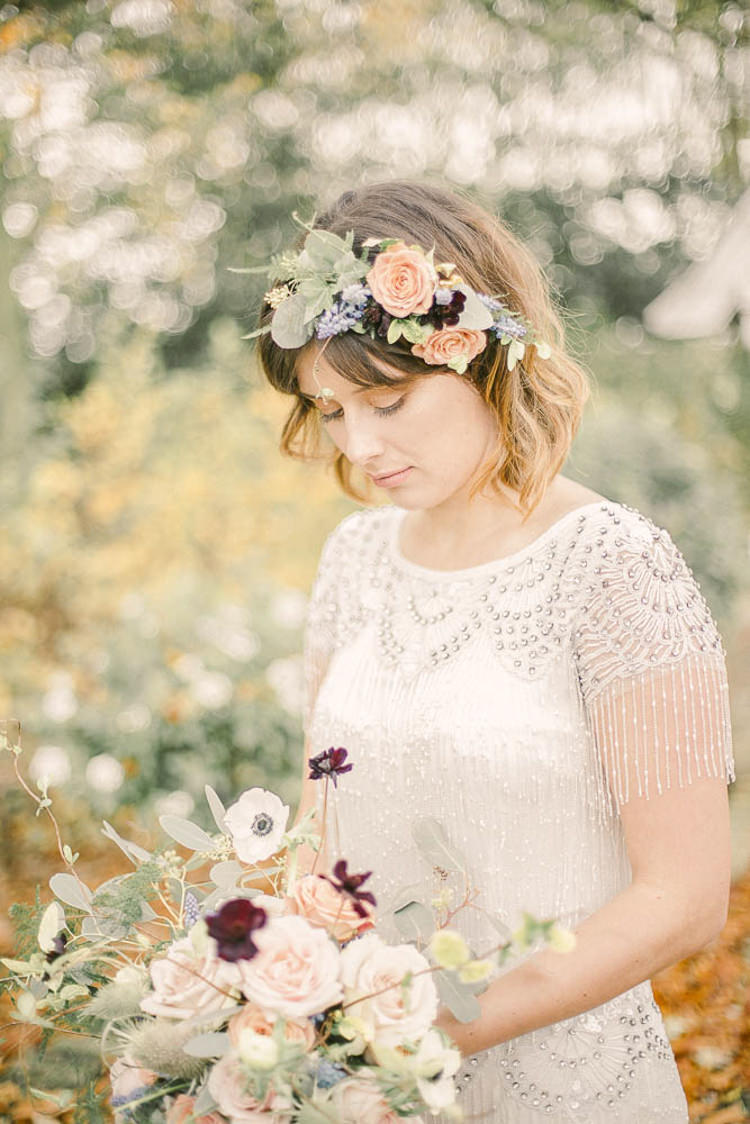 Flower Crown Bride Bridal Blush Masarla Oxblood Florals Beautiful Fine Art Country House Wedding Ideas https://www.theblushingpeony.co.uk/
