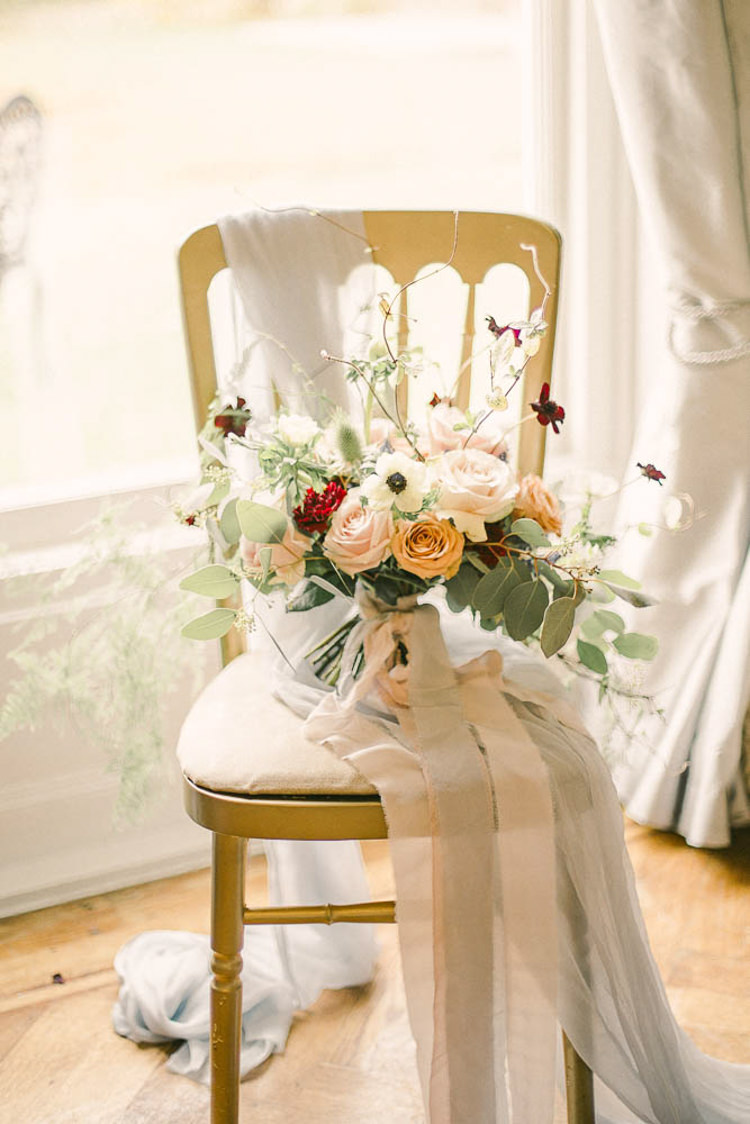 Bouquet Flowers Bride Bridal Peach Blush Rose Thistle Beautiful Fine Art Country House Wedding Ideas https://www.theblushingpeony.co.uk/