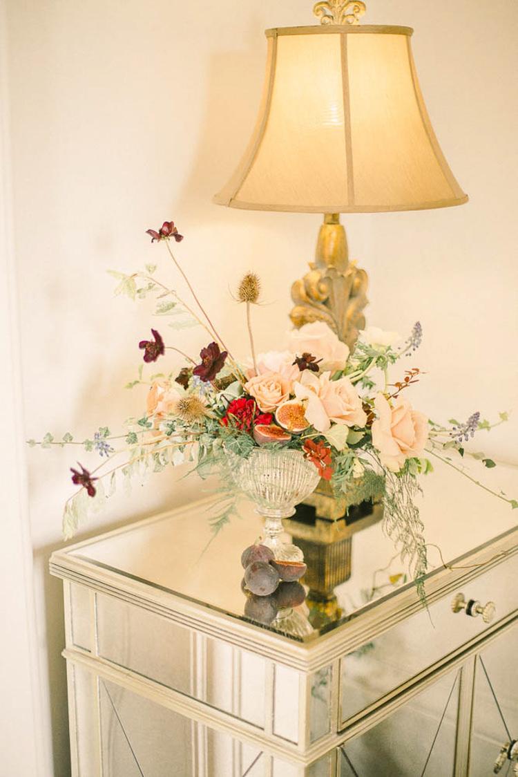 Flower Arrangement Red Peach Beautiful Fine Art Country House Wedding Ideas https://www.theblushingpeony.co.uk/