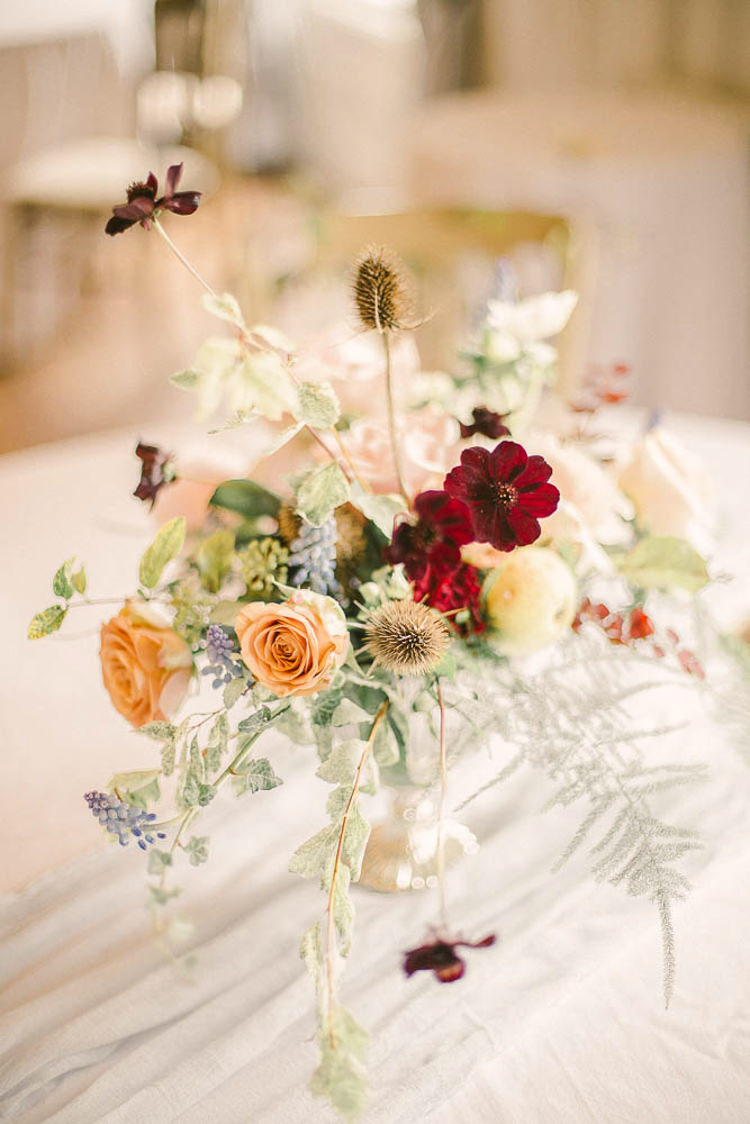 Flowers Red Peach Blush Rose Thistle Beautiful Fine Art Country House Wedding Ideas https://www.theblushingpeony.co.uk/