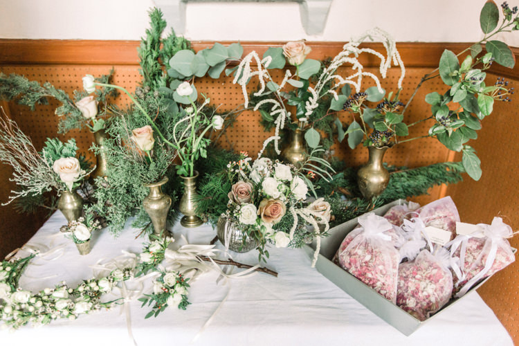 Foliage Bras Vases Confetti Table Pastel Peach Roses Enchanted Magical Snowy Wedding https://www.thegibsonsphotography.co.uk/
