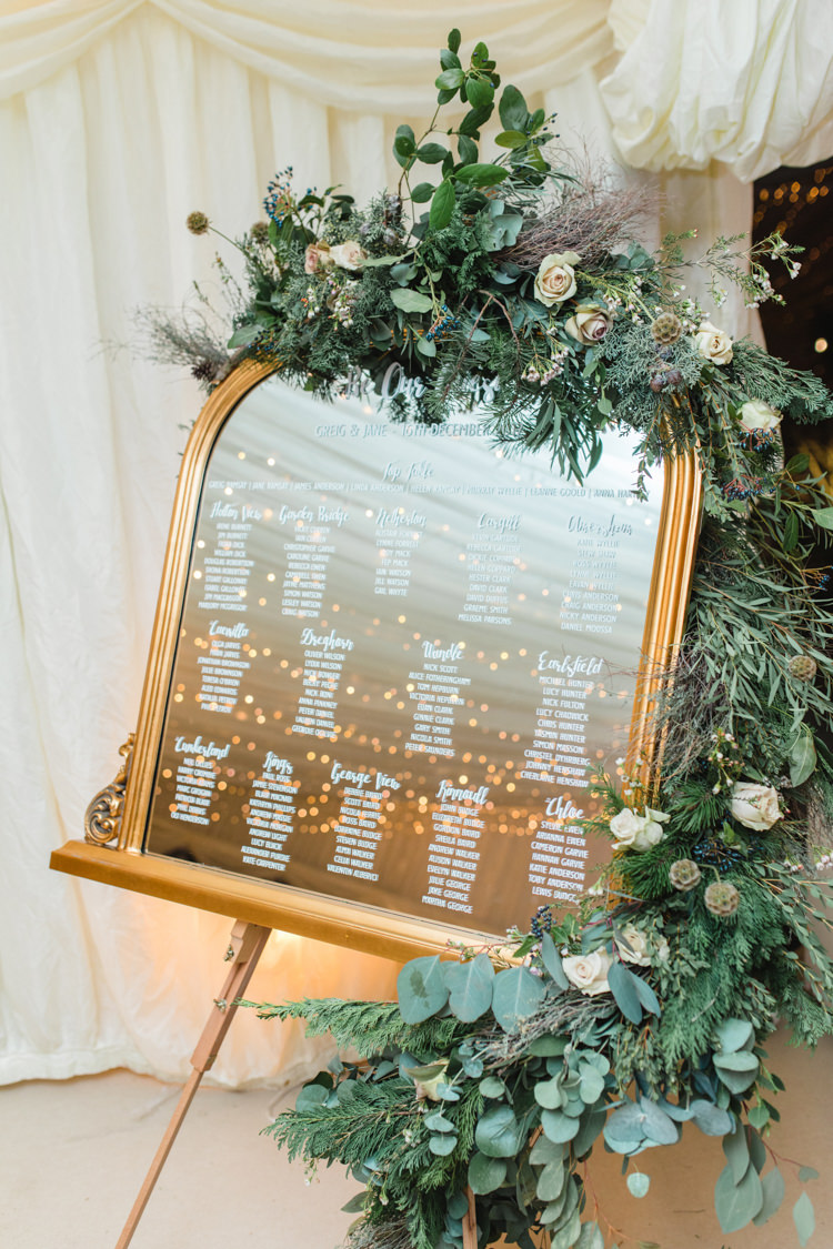 Table Plan Gold Mirror Chalk Foliage Rose Pink Enchanted Magical Snowy Wedding https://www.thegibsonsphotography.co.uk/