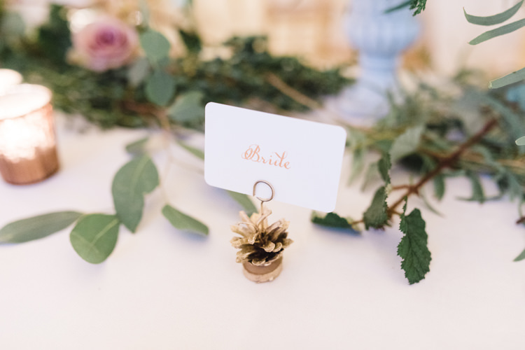 Place Card Place Setting Gold Fir Cone Bride Enchanted Magical Snowy Wedding https://www.thegibsonsphotography.co.uk/
