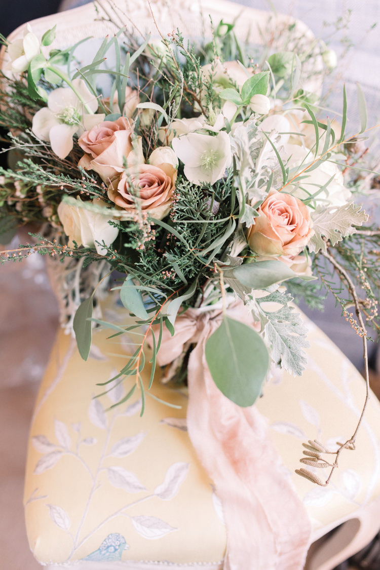Bride Bridal Bouquet Pastel Peach Rose Eucalyptus Foliage Enchanted Magical Snowy Wedding https://www.thegibsonsphotography.co.uk/