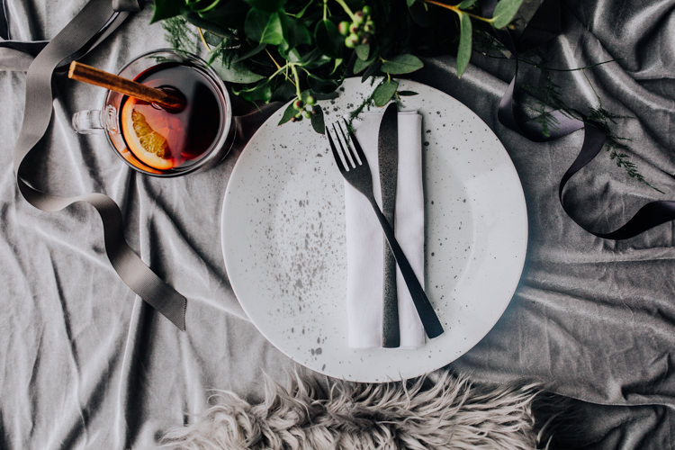Tablescape Decor Grey White Greeenery Candles Foliage Fabric Place Setting Ocean Clifftop Elopement Wedding Ideas North Wales https://www.claracooperphotography.com/