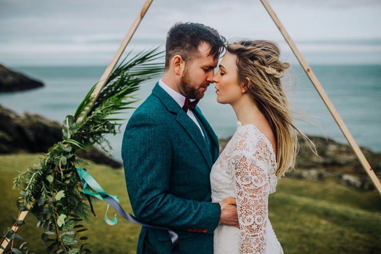 Ocean Clifftop Elopement Wedding Ideas North Wales https://www.claracooperphotography.com/