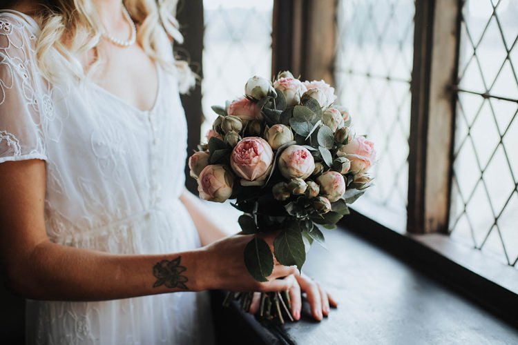 Pink Piano Rose Bouquet Flowers Bride Bridal Eucalyptus Rustic Homespun Country Chapel Barn Wedding Sussex http://www.olegssamsonovsphotography.com/